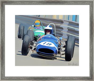 1963 Cooper T66 Coming Out Of Monaco's Mirabeau Framed Print by Wally Hampton
