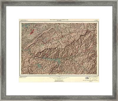 1963 Smoky Mountains Map Framed Print