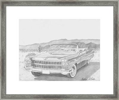 1964 Cadillac Series 62 Convertible Classic Car Art Print Framed Print by Stephen Rooks
