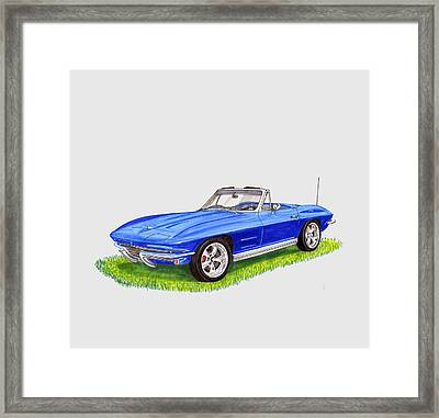 Framed Print featuring the painting 1964 Corvette Stingray by Jack Pumphrey