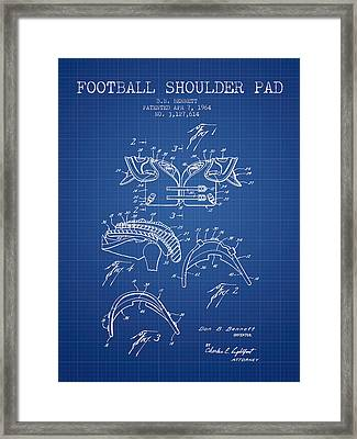 1964 Football Shoulder Pad Patent - Blueprint Framed Print by Aged Pixel