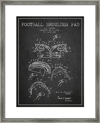 1964 Football Shoulder Pad Patent - Charcoal Framed Print by Aged Pixel