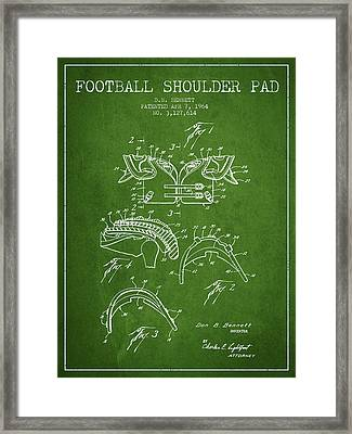 1964 Football Shoulder Pad Patent - Green Framed Print by Aged Pixel