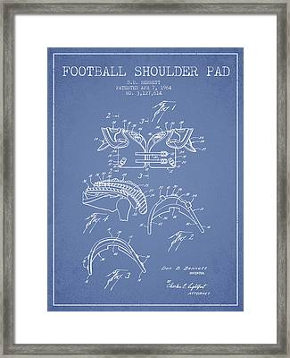 1964 Football Shoulder Pad Patent - Light Blue Framed Print by Aged Pixel