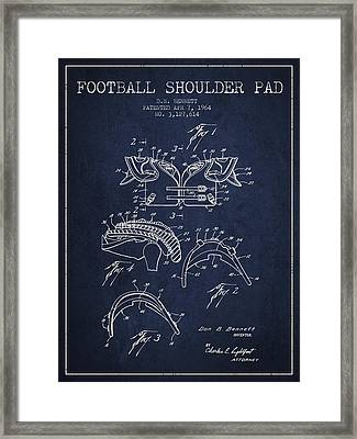 1964 Football Shoulder Pad Patent - Navy Blue Framed Print by Aged Pixel