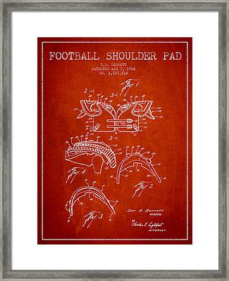 1964 Football Shoulder Pad Patent - Red Framed Print by Aged Pixel