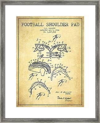1964 Football Shoulder Pad Patent - Vintage Framed Print