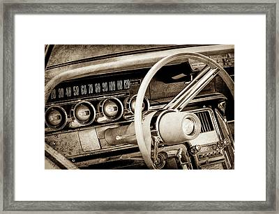 Framed Print featuring the photograph 1964 Ford Thunderbird Steering Wheel -0280s by Jill Reger
