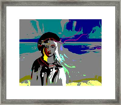 Framed Print featuring the digital art 1964 - Walk On The Seaside by Irmgard Schoendorf Welch