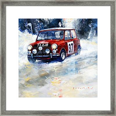 1964 Rallye Monte Carlo Mini Cooper S Hopkirk Liddon Winner Framed Print by Yuriy Shevchuk
