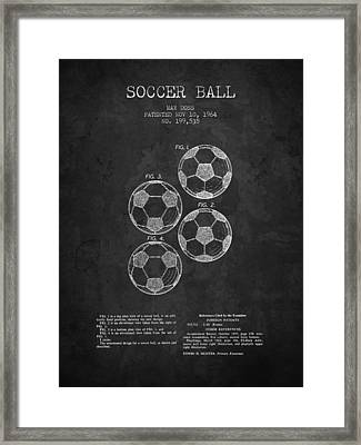 1964 Soccer Ball Patent - Charcoal - Nb Framed Print by Aged Pixel