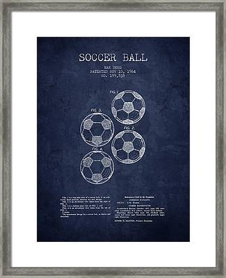 1964 Soccer Ball Patent - Navy Blue - Nb Framed Print by Aged Pixel