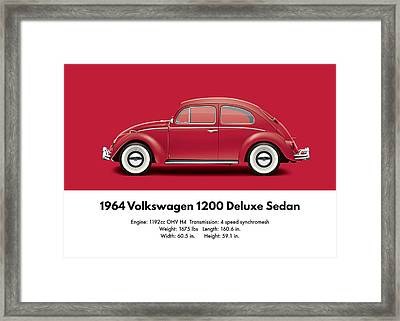 1964 Volkswagen 1200 Deluxe Sedan - Ruby Red Framed Print