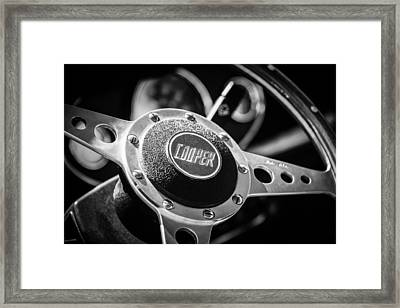 1965 Austin Mini Cooper S Steering Wheel Emblem -0634bw Framed Print