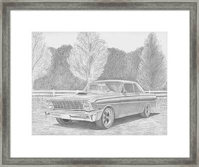 1965 Ford Falcon Classic Car Art Print Framed Print by Stephen Rooks