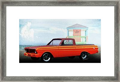 1965 Ford Falcon Ranchero Day At The Beach Framed Print