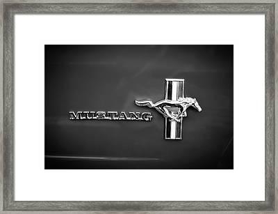 1965 Ford Mustang Emblem -0054bw Framed Print by Jill Reger
