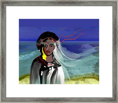 Framed Print featuring the digital art 1965 - Walk On The Oceanside by Irmgard Schoendorf Welch