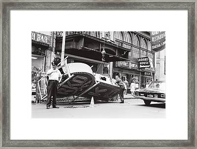 Framed Print featuring the photograph 1965 Removing Rko Theater Sign Boston by Historic Image