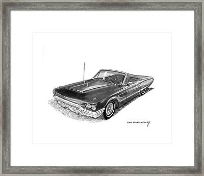 Framed Print featuring the drawing 1965 Thunderbird Convertible By Ford by Jack Pumphrey