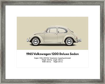 1965 Volkswagen 1200 Deluxe Sedan - Panama Beige Framed Print