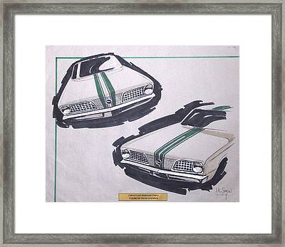 1966 Barracuda  Plymouth Vintage Styling Design Concept Rendering Sketch Framed Print by John Samsen