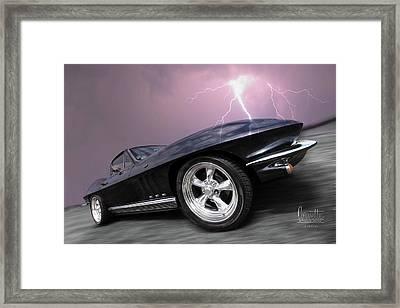 1966 Corvette Stingray With Lightning Framed Print by Gill Billington