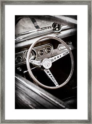 1966 Ford Mustang Cobra Steering Wheel Emblem -0091ac Framed Print by Jill Reger