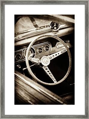 1966 Ford Mustang Cobra Steering Wheel Emblem -0091s Framed Print by Jill Reger