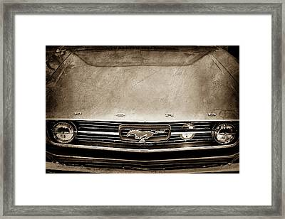 1966 Ford Mustang Front End Grille Emblem -0122s Framed Print by Jill Reger
