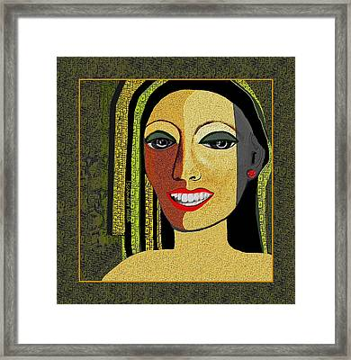 Framed Print featuring the digital art 1966 - Lady With Beautiful Teeth by Irmgard Schoendorf Welch
