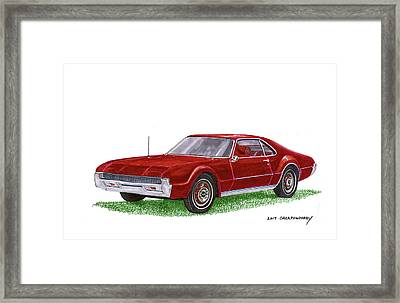 Framed Print featuring the painting 1966 Oldsmobile Toronado by Jack Pumphrey