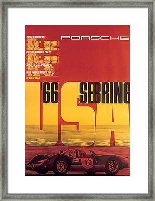 1966 Porsche 12 Hours Of Sebring Framed Print by Georgia Fowler