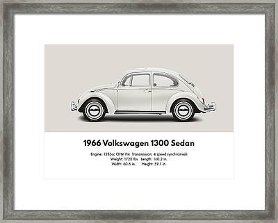 1966 Volkswagen 1300 Sedan - Pearl White Framed Print by Ed Jackson