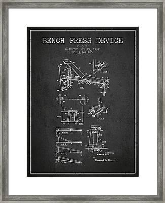 1967 Bench Press Device Patent Spbb06_cg Framed Print by Aged Pixel