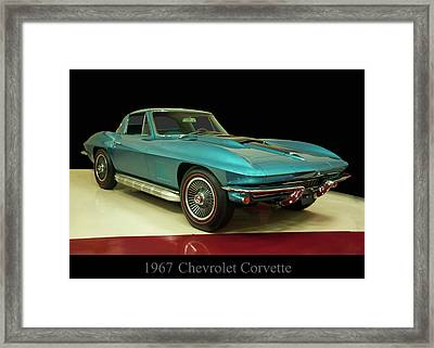 Framed Print featuring the digital art 1967 Chevrolet Corvette 2 by Chris Flees