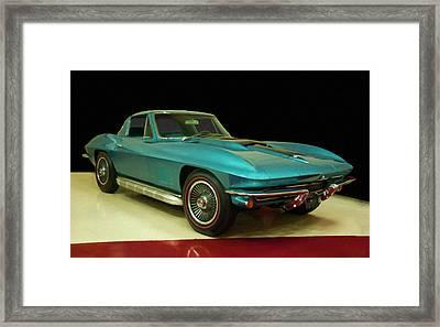 1967 Chevy Corvette Blue Digital Art Framed Print