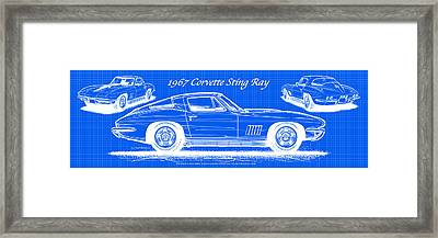 1967 Corvette Sting Ray Coupe Reversed Blueprint Framed Print
