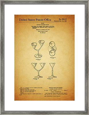 1967 Double Martini Glass Framed Print by Dan Sproul