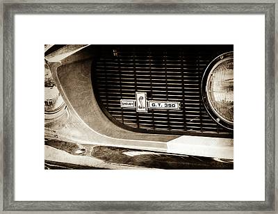 Framed Print featuring the photograph 1967 Ford Gt 350 Shelby Clone Grille Emblem -0759s by Jill Reger