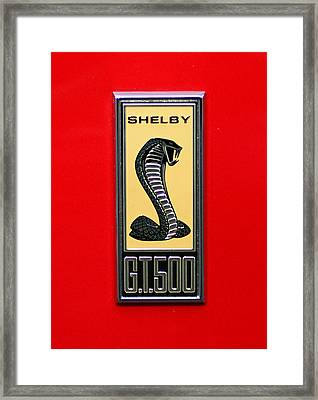 1967 Ford Shelby Gt 500 Cobra Fender Emblem On Red Framed Print by Paul Ward