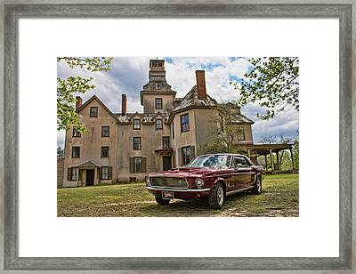1967 Mustang At The Mansion Framed Print
