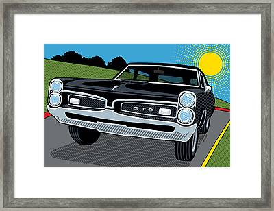 Framed Print featuring the digital art 1967 Pontiac Gto Sunday Cruise by Ron Magnes