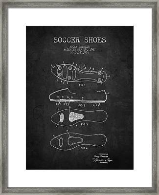 1967 Soccer Shoe Patent - Charcoal - Nb Framed Print by Aged Pixel