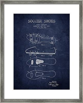 1967 Soccer Shoe Patent - Navy Blue - Nb Framed Print by Aged Pixel