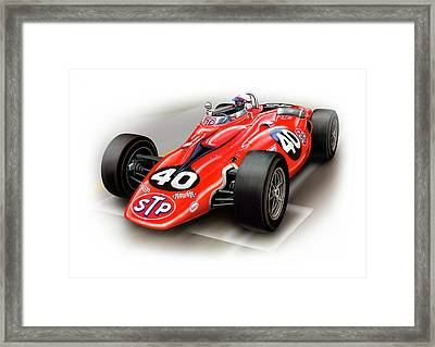 1967 Stp Turbine Indy 500 Car Framed Print by David Kyte
