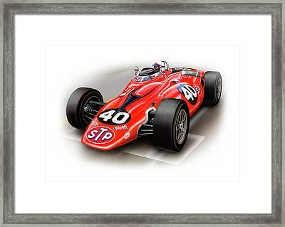 1967 Stp Turbine Indy 500 Car Framed Print by David Kyte