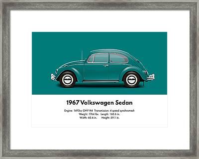 1967 Volkswagen Sedan - Java Green Framed Print by Ed Jackson
