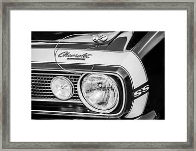 1968 Chevrolet Yenko Super Camaro Hood Emblem -1785bw Framed Print by Jill Reger