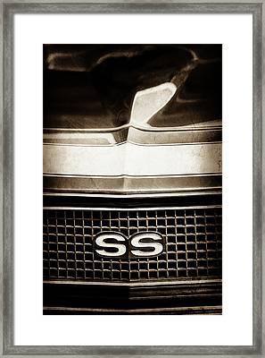 1968 Chevrolet Yenko Super Camaro Ss Grille Emblem -1745s Framed Print by Jill Reger